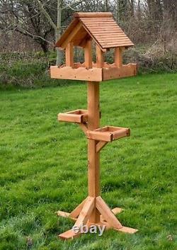 Triple Grande Table D'oiseaux De Toit En Bois