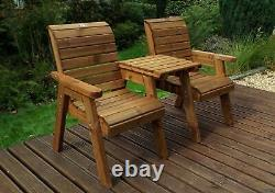 Uk-jardins Heavy Duty Love Seat Wooden 2 Seater Garden Bench Square Table