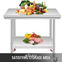 Vevor Acier Inoxydable Table De Travail 76x60cm Food Prep Utility Work Station Roues