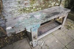 Vintage Français Industriel Heavy Duty Oak Workbench