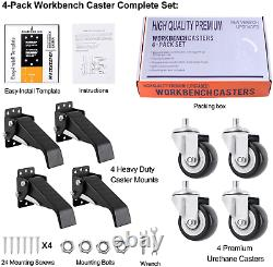 Workbench Caster Kit Retractable Robuste Uréthane Table Roue Roue Roues 4x