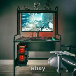 X Rocker Gaming Desk Metal Home Office Table Étagères Réglables Pc Tray Icare