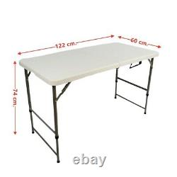 Yjaa 4ft Catering Camping Heavy Duty Folding Table Picnic Bbq Hauteur Réglable